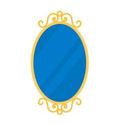 retro oval mirror icon mirror frame decoration vector image