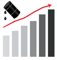 Rising oil price graph chart vector image