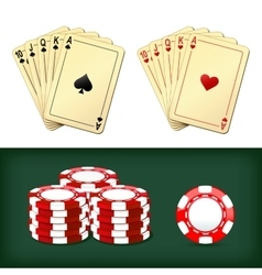 Royal flush playing cards chips casino vector