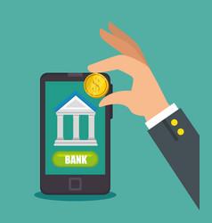 Save money concept mobile banking desing vector