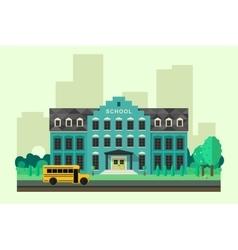 School with bus vector image
