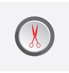 Scissors tool icon Cut symbol Red silhouette on vector