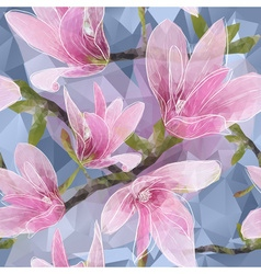 Seamless Floral Wallpaper with Magnolias vector