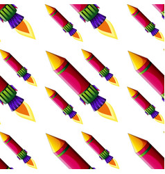 Seamless pattern tile cartoon with rocket vector