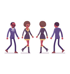 Secret agent black man and woman spies walking vector