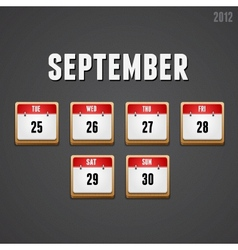 September 2012 Calendar icons vector image vector image