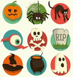 Set of Halloween cartoon icons vector image vector image