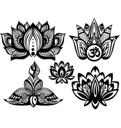 Set of ornamental lotus vector