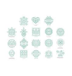 Set original organic logos linear vector