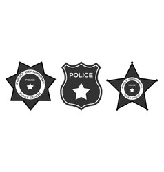 set police badge with stars in flat style vector image