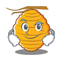 Smirking bee hive character cartoon vector