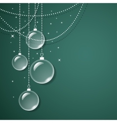 Transparent glass decorations on green background vector image vector image
