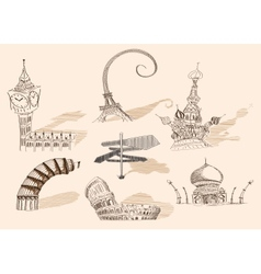 travel original hand drawn collection caricature vector image