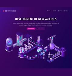 vaccine development laboratory isometric landing vector image