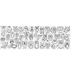various owls birds doodle set vector image