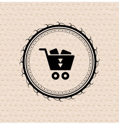 Vintage retro label tag badge shopping cart vector