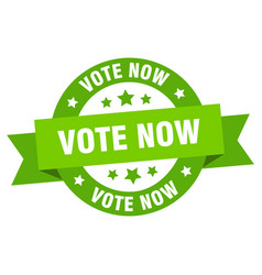 vote now ribbon vote now round green sign vote now vector image