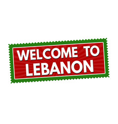 welcome to lebanon travel sticker or stamp vector image