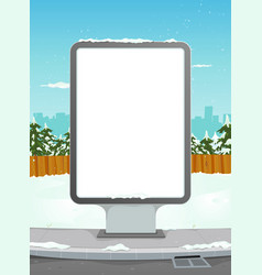 White billboard on winter urban background vector