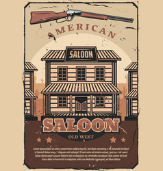 Wild west retro poster american saloon and gun vector