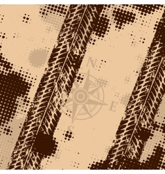 Wind rose with tire tracks vector image