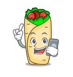 With phone burrito character cartoon style vector