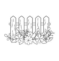 Wooden fence with flowers vector