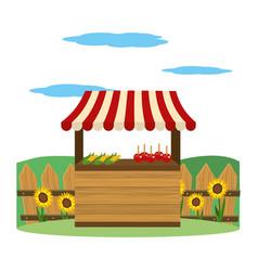 Wooden market stall cartoon vector