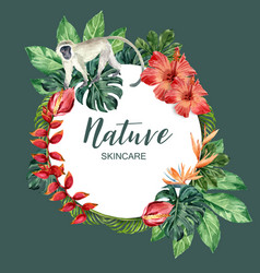 Wreath design with tropical theme wild animal vector