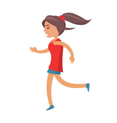 young girl with ponytail in shirt and shorts jogs vector image