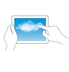 Cloud computing and touch pad concept vector image