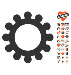 cog icon with dating bonus vector image vector image