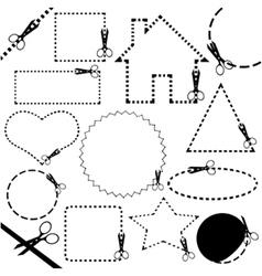 different scissors cutting set vector image vector image
