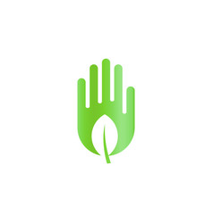green leaf in hand harvest abstract icon ecology vector image