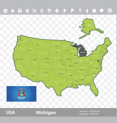 Michigan flag and map vector