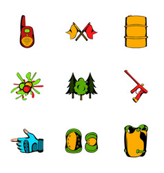 play icons set cartoon style vector image vector image