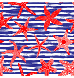 sea stars seamless pattern marine backgrounds vector image