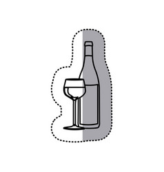 sticker black contour of glass cup and bottle vector image