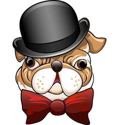 Bulldog in a bowler hat vector image vector image