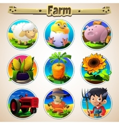 Cartoon set of animals vegetables and men vector image