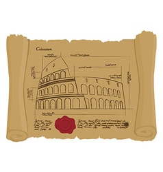 Drawing of colosseum at ancient scroll retro vector