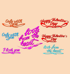 happy valentine s day lettering popular phrases vector image