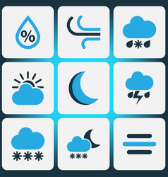 Nature colored icons set collection of snowfall vector