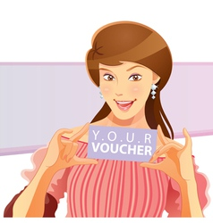 pretty girl holding voucher vector image vector image