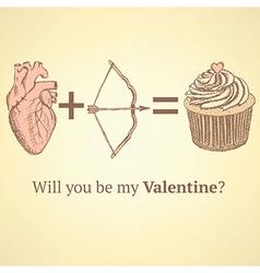 Sketch cute Valentine card vector image vector image