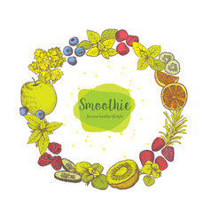 smoothie herb spices and fruits vector image vector image