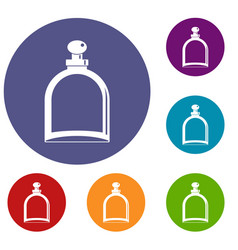 white glass bottle with perfume icons set vector image vector image