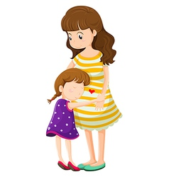 A daughter hugging her mother vector image vector image