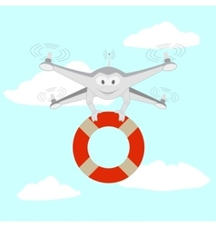 Drone rescue on the water vector