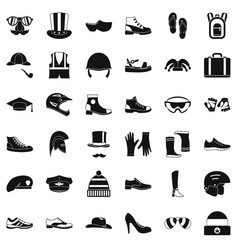 Fashion clothes icons set simple style vector